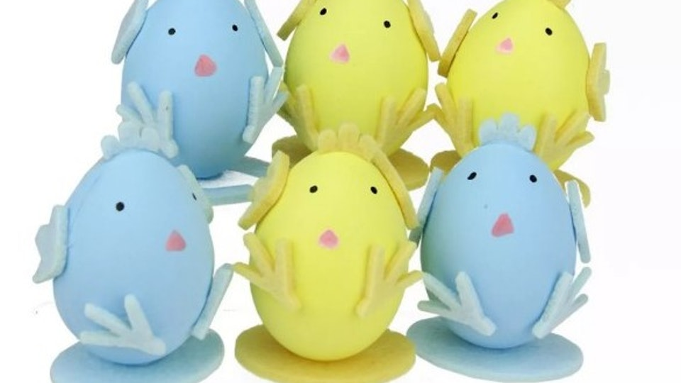 blue and yellow baby chick easter decorations from target