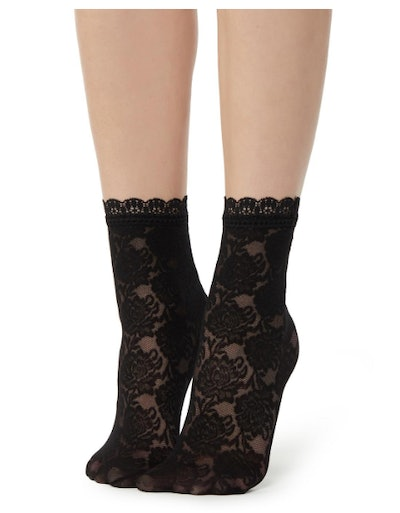 Fancy Floral Patterned Socks With Lace Detail