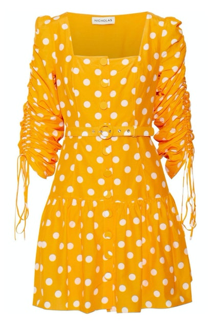 Belted Polka-Dot Mini Dress