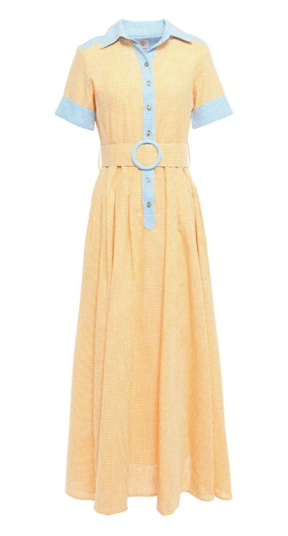 Belted Gingham Maxi Shirt Dress
