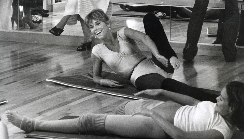 Jane Fonda does her signature workout in an exercise class. Jane Fonda's workout routine is now on t...