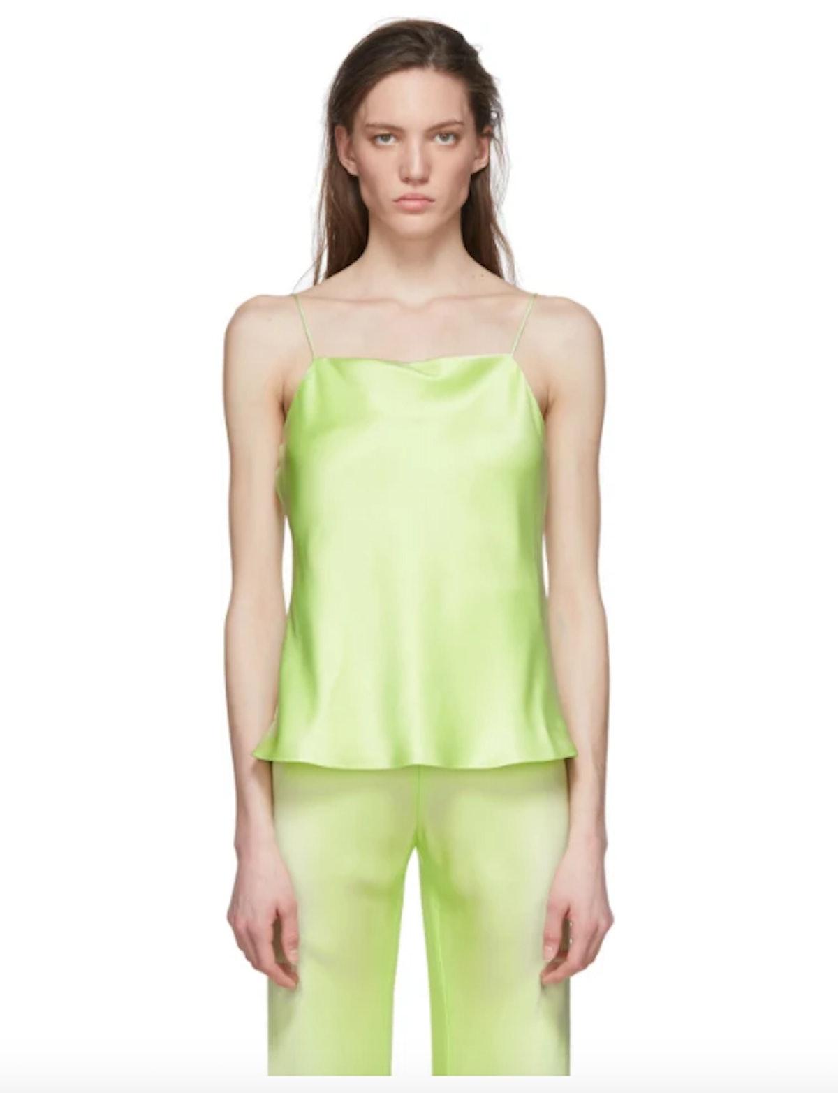 Green Bias Satin Camisole