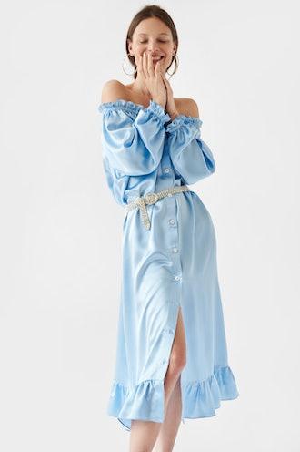 Maria Blue Silk Loungewear Dress