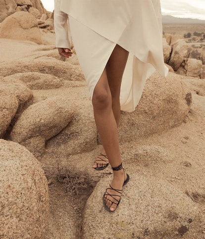 Emerging brand Amanu is making the minimal sandal shoe that is trending for Spring/Summer 2021.