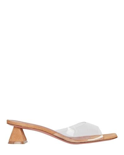 Amina Muaddi Lupita PVC-Trimmed Suede Sandals