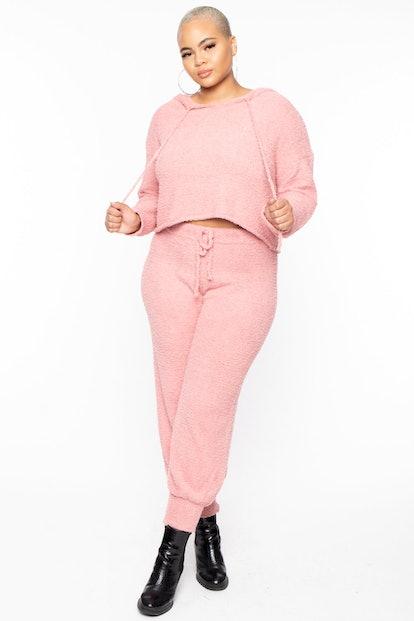 Curvy Sense Plus Size Comfy Fuzzy Matching Set