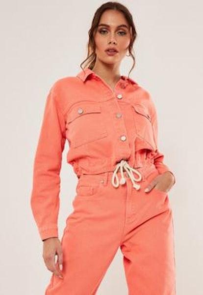 Missguided Orange Co Ord Rope Waist Detail Cropped Denim Jacket