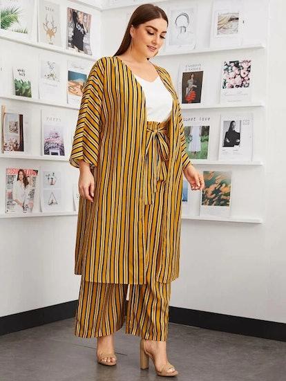 SHEIN Plus Striped Kimono and Paperbag Waist Palazzo Pants Set