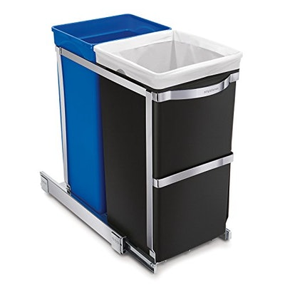 simplehuman Dual Compartment Pull-Out Recycling Bin and Trash Can