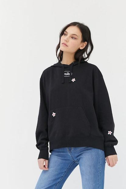 Embroidered Flower Hoodie Sweatshirt
