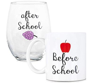 Coffee Mug and Stemless Wine Set