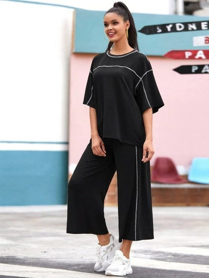 SHEIN Contrast Stitch Top and Wide Leg Pants Set