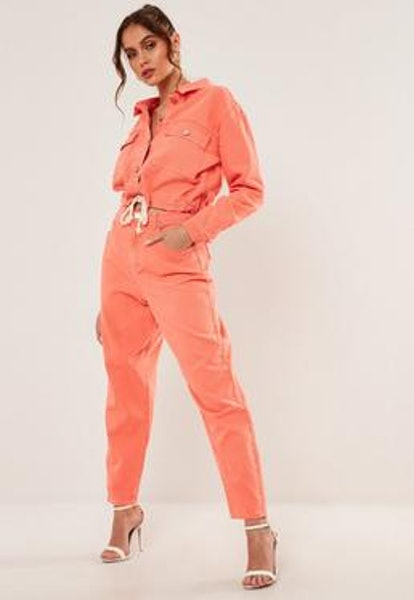 Missguided Orange Co Ord Super Wide Leg Highwaisted Tapered Jeans