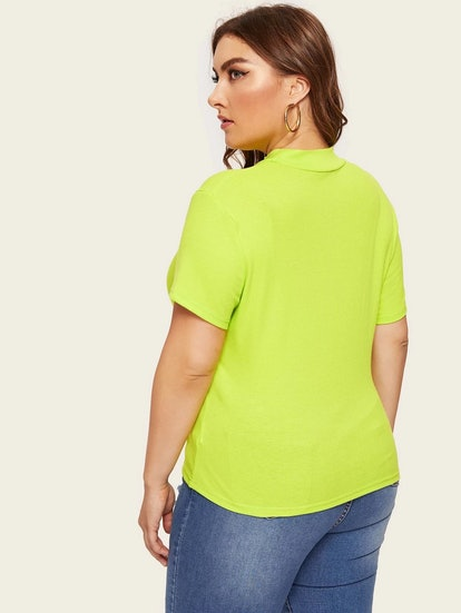 SHEIN Plus Neon Lime Mock-neck Ribbed Knit Top