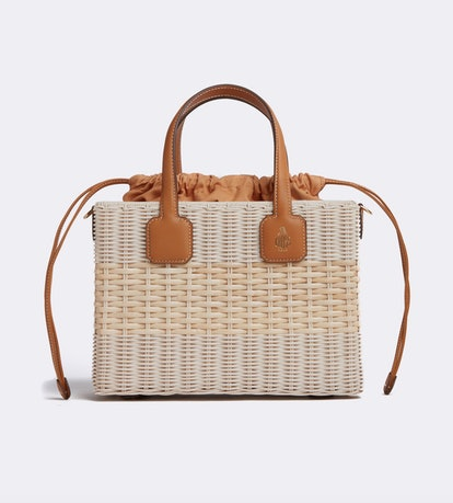 Manray Rattan & Leather Tote Bag