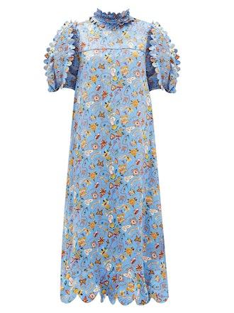 Elinor Love Letters-print silk-satin midi dress