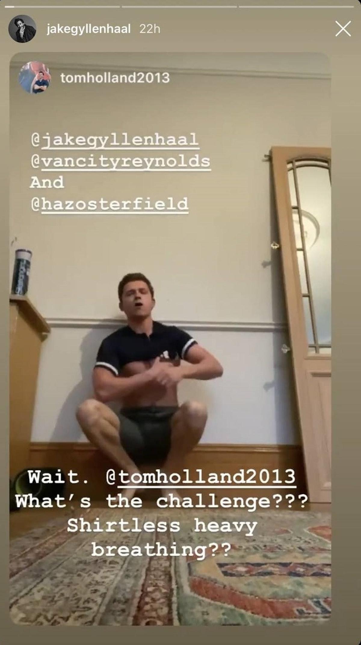 Tom Holland's shirtless handstand Instagram challenge is so weird.