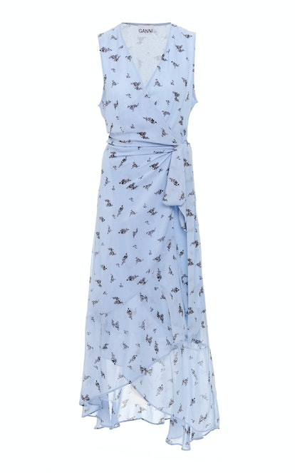 Printed Georgette Wrap Midi Dress