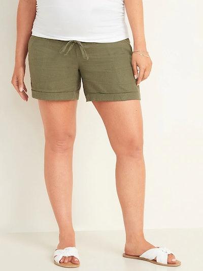 Maternity Rollover-Waist Linen-Blend Shorts - 5-inch inseam
