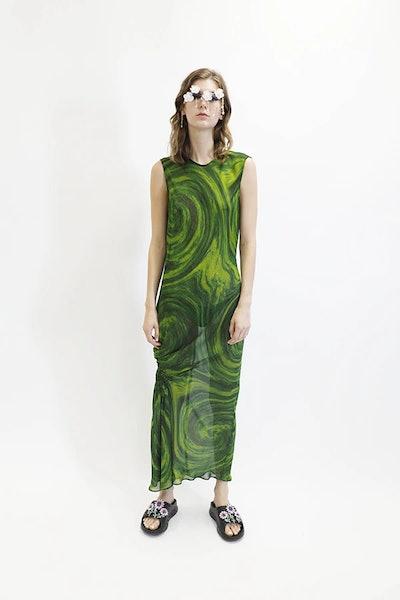 Lawn Dress Green Swirl
