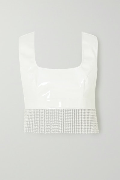 Cropped Faux Pearl-Embellished Vinyl Top