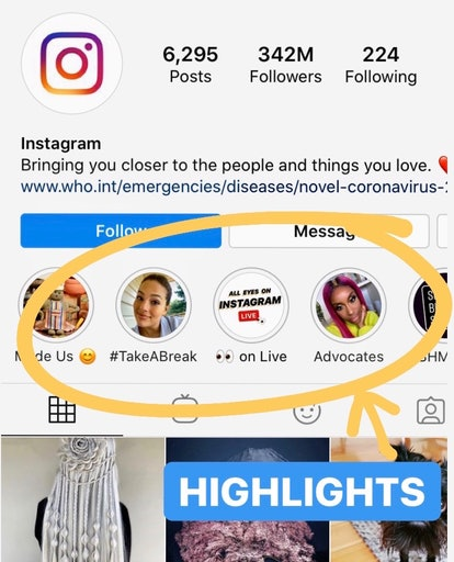 detail shot of where to find highlights, where Instagram stories can live permanently on your feed
