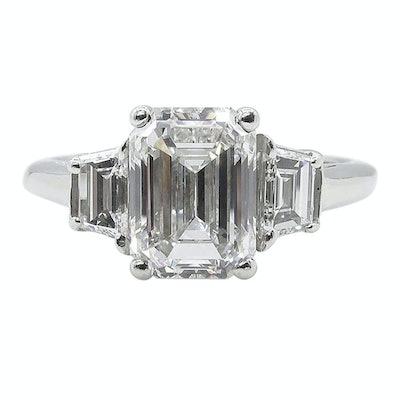 Vintage Gia 2.54 Carat Vintage Emerald Cut Diamond Engagement Ring