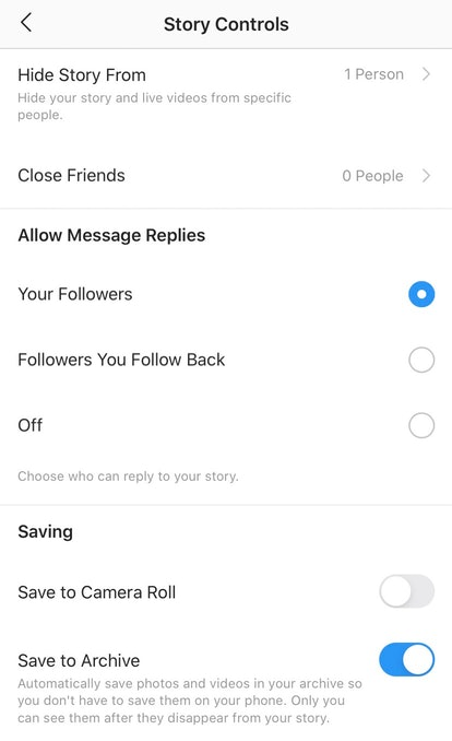 "Screenshot of what ""Story Controls"" look like on Instagram"