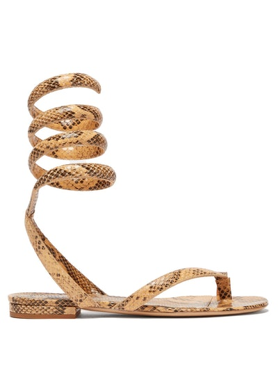 Bottega Veneta Python-Embossed Leather Sandals