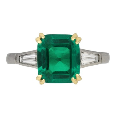 Berganza Colombian Emerald and Diamond Flanked Solitaire Ring