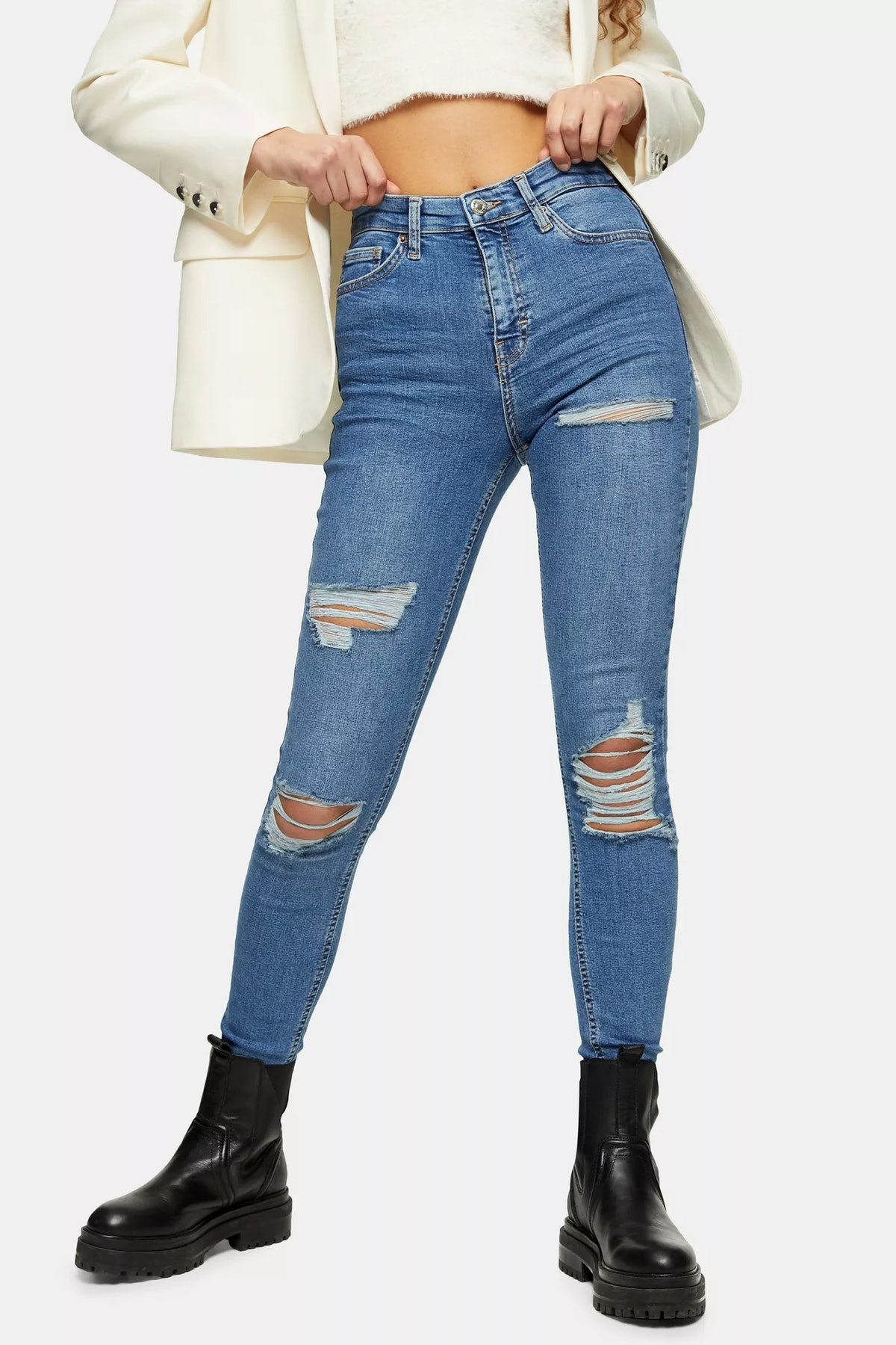 Mid Blue Super Rip Jamie Skinny Jeans