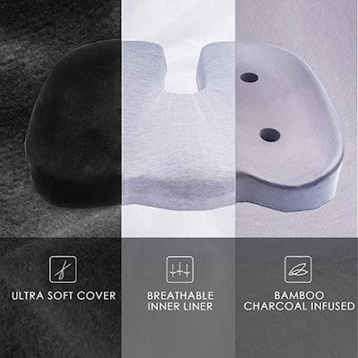 CYLEN Home Memory Foam Bamboo Charcoal Infused Ventilated Orthopedic Seat Cushion