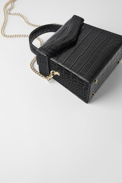 Zara Animal Embossed Crossbody Box Bag
