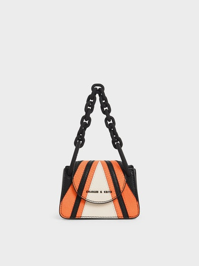 Charles & Keith Striped Chunky Chain Handle Mini Bag