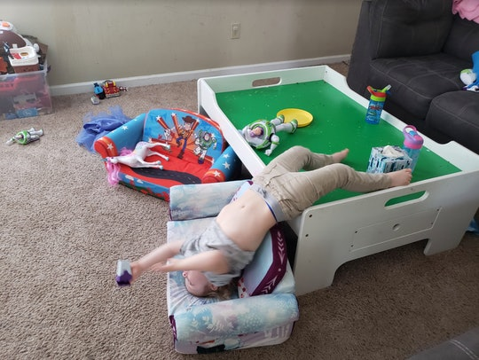 Even upside down, kids entertaining themselves while at home practicing social distancing can be don...