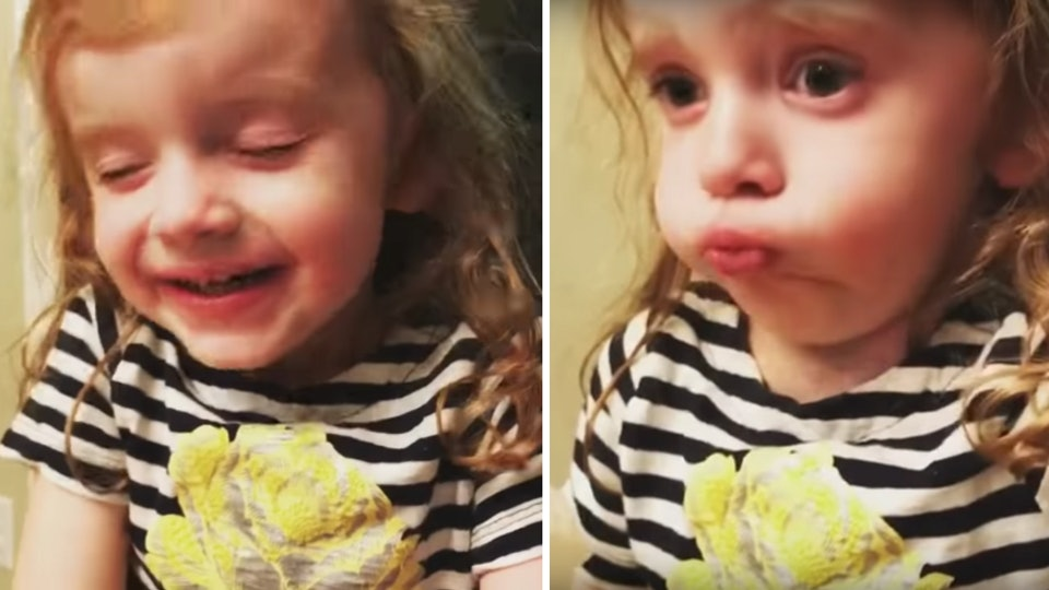 A little girl is delighting the internet by pretending to like her mom's spaghetti.