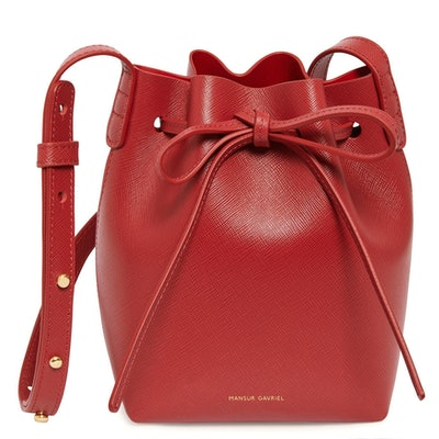 Mansur Gavriel Saffiano Mini Mini Bucket Bag