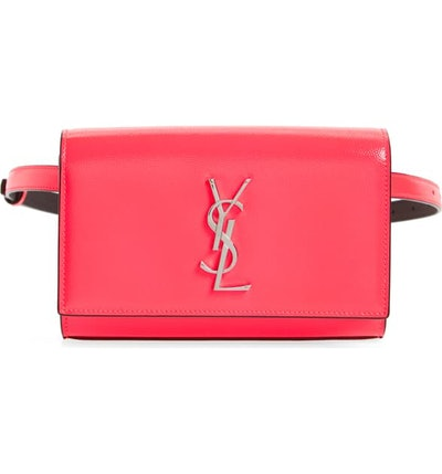 Kate Ysl Monogram Neon Belt Bag In Neon Pink