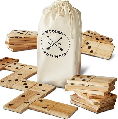 Refinery And Co. 28-Piece Jumbo Wood Dominoes Game