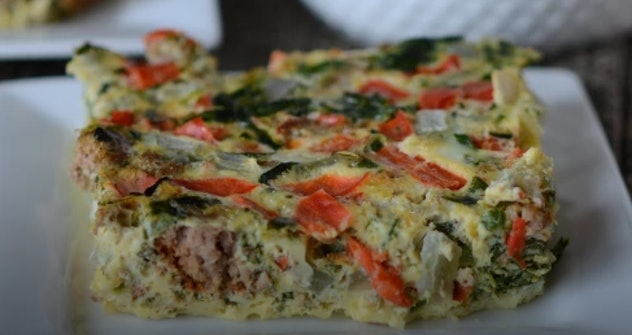 Slow cooker breakfast frittata from Once A Month Meals makes a great Easter breakfast or brunch idea