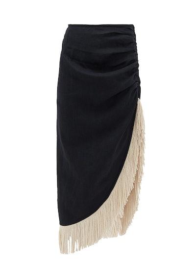 Wrap-Effect Fringed Linen Skirt