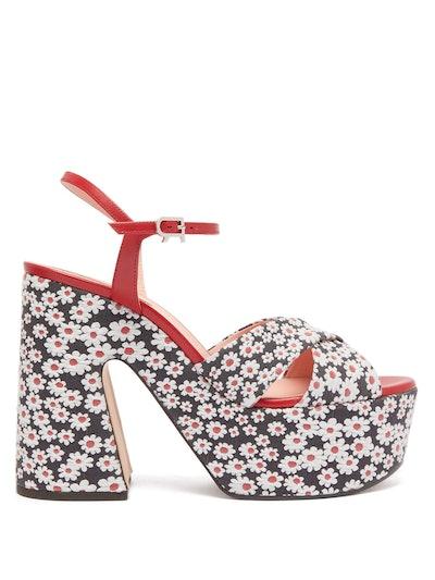 Daisy-Jacquard Platform Sandals