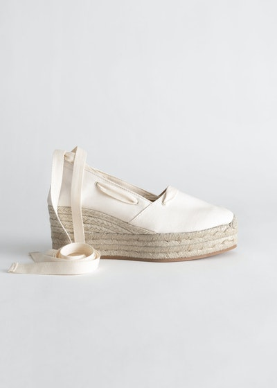 & Other Stories Lace Up Espadrille Wedges