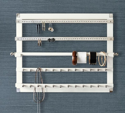 White & Silver Wall-Mounted Jewelry Hanger