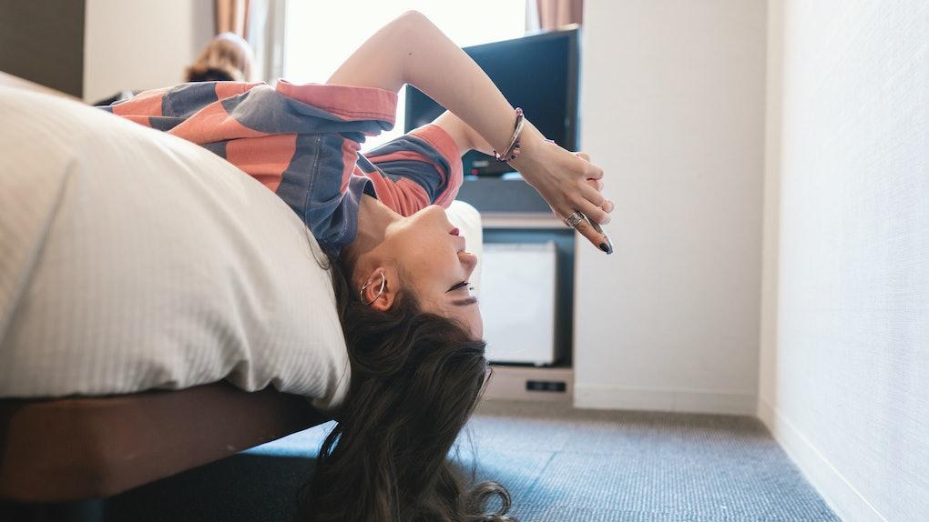 Girl bored at home