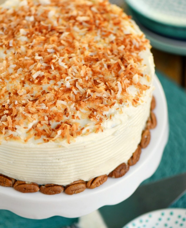 slow cooker carrot cake with cream cheese frosting  recipe from Mom on Timeout is super easy and made without oil or butter