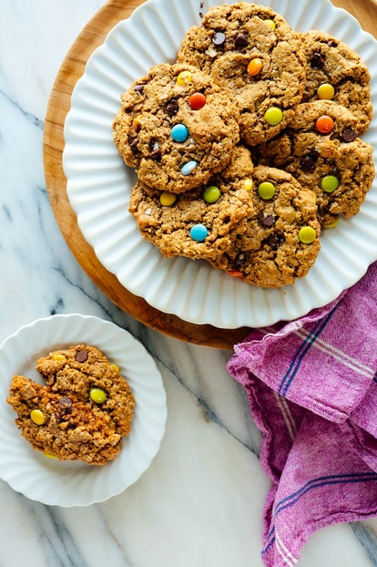 Monster cookies with M&Ms and chocolate chips make for an easy no flour dessert.