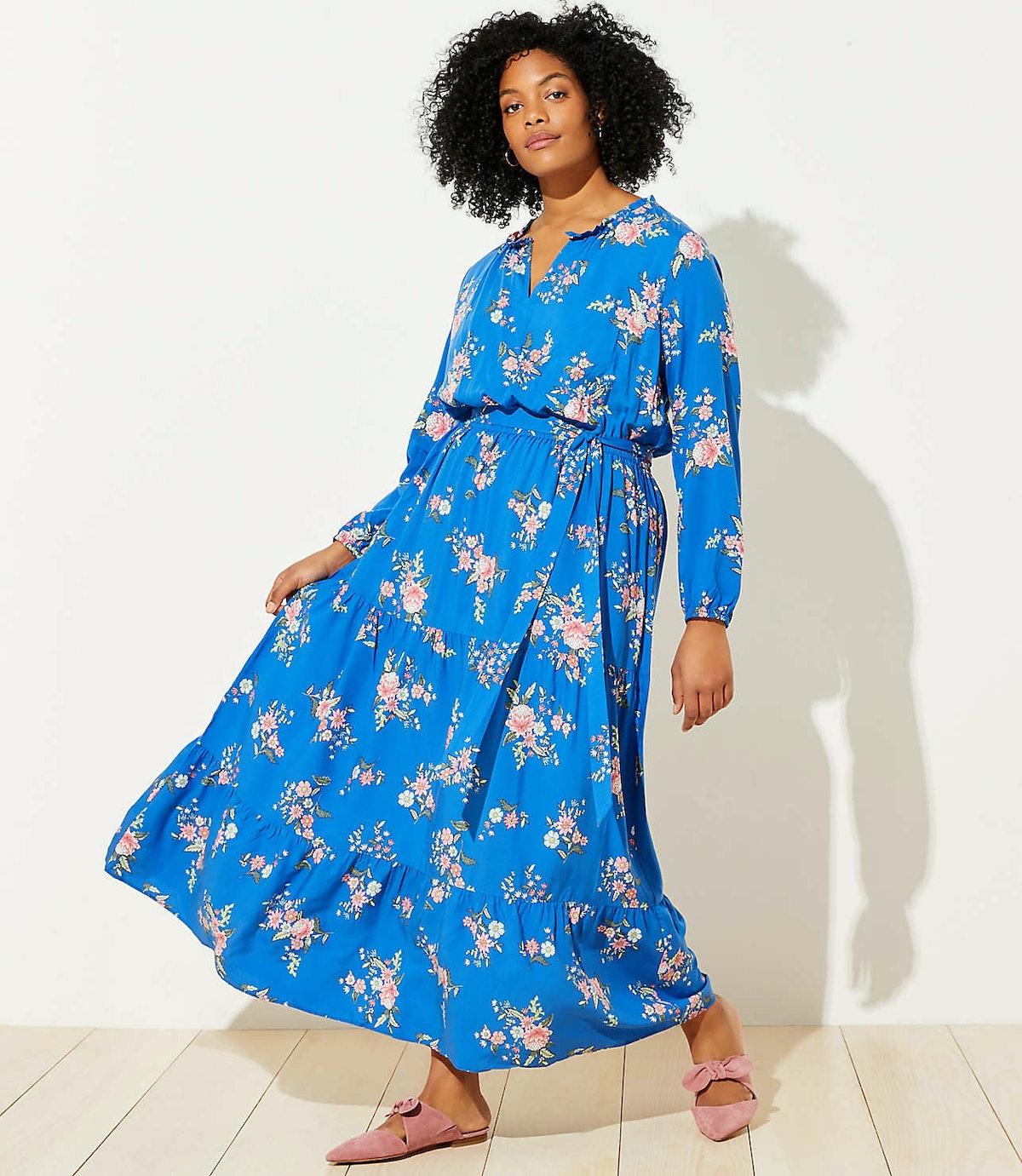 Loft Plus Floral Tiered Maxi Dress