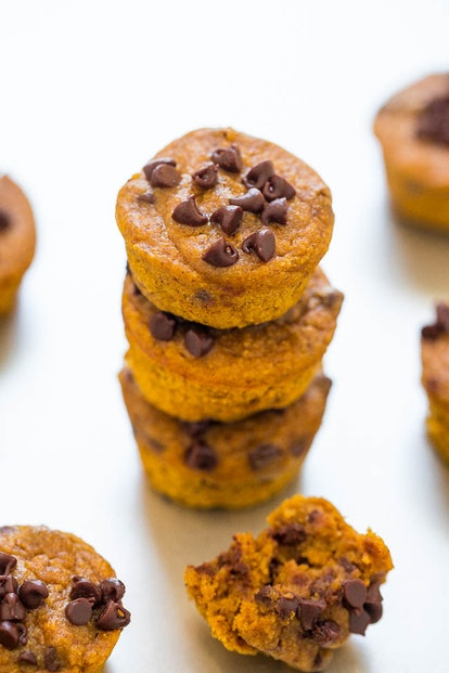 These pumpkin chocolate chip muffins use no flour.