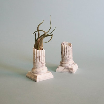 Small Marble Ancient Roman/Greek Column Air Planter